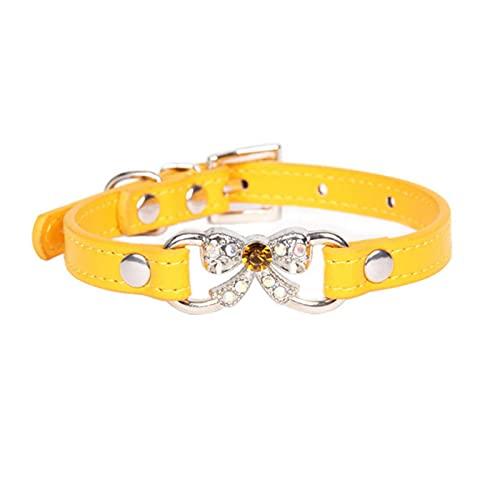 WWPP Bowknot Diamante Artificial Perro Gato Cachorro Collar De Cuero Arco Mascota Collar Ajustable Duradero Cinturones Sólido 7 Colores