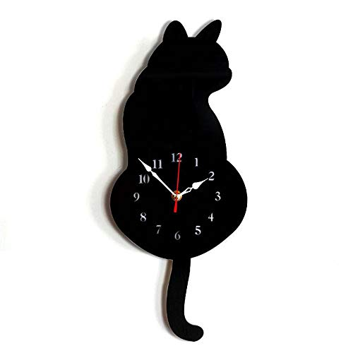 Artensky Orologio da Parete Acrilico Modern Cute Gatto Orologio Shaking Tail Home Decor Move Silence (Nero)