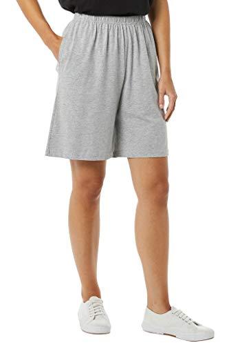 AmeriMark Women's Cotton Shorts - Elastic Waist Lightweight Casual Summer Shorts Heather Gray Large