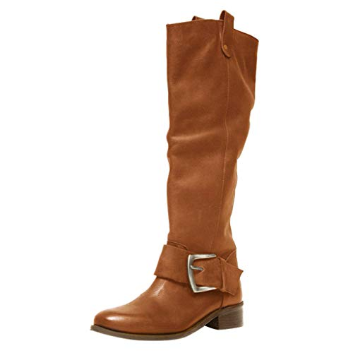WHSHINE Damen Damen Vintage Große Schnalle Kniehohe Reitstiefel Leder Slouch Stiefel Schuhe