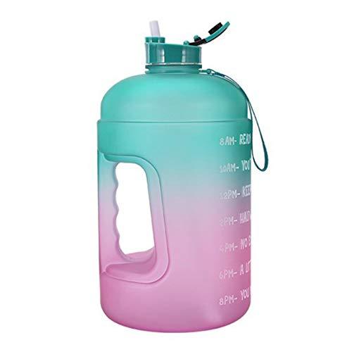 SeniorMar-UK Praktische Wasserflasche Kreative Farbverlaufsfarbe Kunststoff Große Wasserflasche 3.78L Tragbarer Sportwassereimer