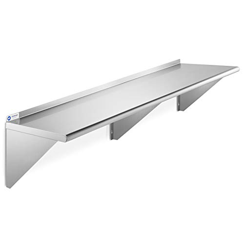 GRIDMANN NSF Stainless Steel 12' x 72' Kitchen Wall Mount Shelf Commercial Restaurant Bar w/ Backsplash