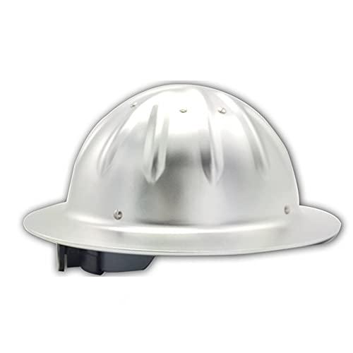 KZXCTG Helme Aluminium Helme Bauhelm Aluminium-Hart Arbeitshelm Verstellbarer Schutzhelm mit 4-Punkt-Gurtband Engineering Hardhat