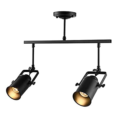 NIUYAO Vintage Industrial Ceiling Spotlight, Retro Adjustable Metal Track Lighting Fixture for Office Loft Hall Bedroom Restaurant Hotel Coffee Shop 1 Lamp Brass 410540