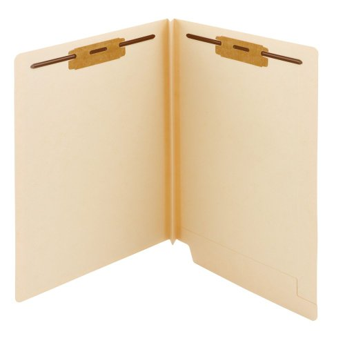 """Smead Extra Capacity End Tab Fastener File Folder, Shelf-Master Reinforced Straight-Cut Tab, 2 Fasteners, 1-1/2"""" Expansion, Letter Size, Manila, 50 per Box (34276)"""