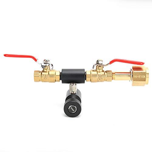 Oumefar Adaptador de Cilindro de Soda, Adaptador de llenado de Cilindro de CO2, válvula Doble doméstica CGA320 con válvula Negra de Soda ASA para Herramientas Profesionales SodaStream