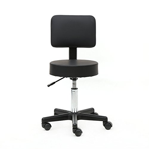 Round Rolling Stool PU Leather with Wheels and Foot Rest, Height Adjustable Task Work Drafting Chair with Back for Salon Spa Tattoo Facial Medical Office Chairs (Square Shape Back, Black)