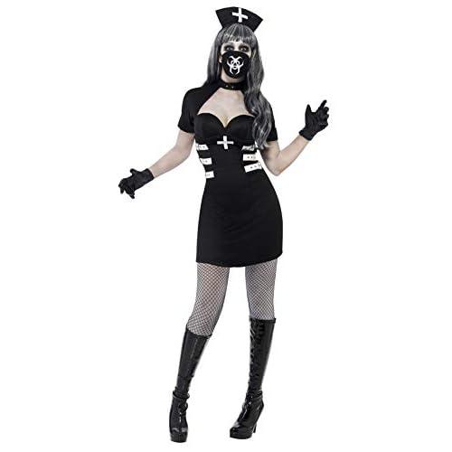 Smiffys Costume Infermiera Delirio, Nero, comprende Abito, Giacca, Guanti, Cerchietto e