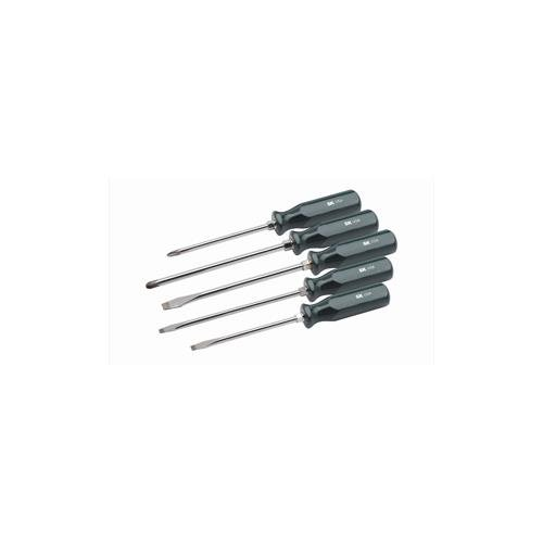 """SK Hand Tool 86322 SureGrip Heavy Duty 5-Piece Combination Screwdriver Set, P3 x 6"""", P4 x 8"""" Phillips Screwdrivers, 5/16 x 6"""", 3/8 x 8"""", 5/16 x 8"""" Slotted Screwdrivers, Made in U.S.A."""