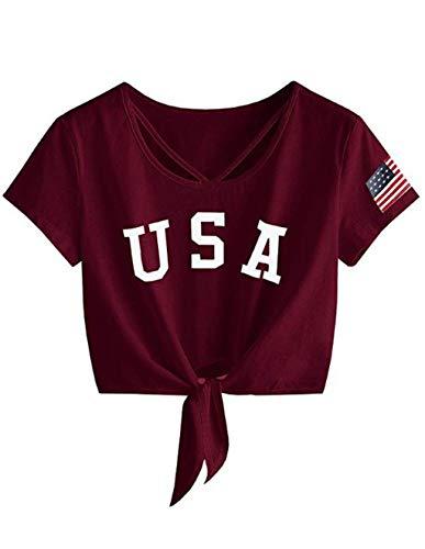 Siennaa Crop Tops Damen Sommer, Teenager Mädchen Mode USA Flagge Gedruckt Bauchfrei Oberteile Brief Drucken Sport Casual Blusen Shirt Hemd Frauen Kurzarm T-Shirts Tops Pullover Sale (D-Rotwein, S)