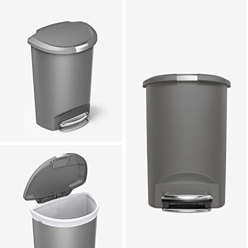 simplehuman 50 Liter / 13 Gallon Semi-Round Kitchen Step Trash Can, Grey Plastic With Secure Slide Lock