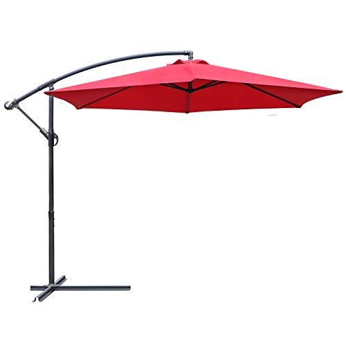 Greesum Offset Umbrella 10FT Cantilever Patio Hanging Umbrella Outdoor Market Umbrella with Crank and Cross Base (Red)