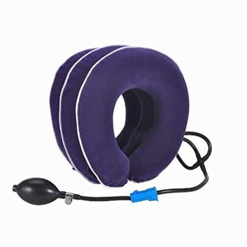 ZENGZHIJIE Best Cervical Neck Traction Device & Collar Brace,Inflatable & Adjustable Neck Support Pillow is Ideal for Spine Alignment & Chronic Neck Pain Relief (Color : Blue)