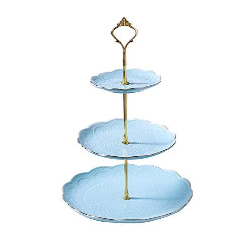 Soporte de pastel de 3 niveles Decoración del hogar Decoración de la boda Adecuada para la fiesta de boda Cumpleaños Cerámica Placa de fruta Placa Placa Placa de pastel Cumpleaños Pastel de decoración