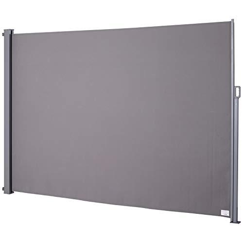 Outsunny Seitenmarkise, Sichtschutz, Sonnenschutz, Seitenrollo, Blickschutz, Polyester, Grau, 300 x 200 cm