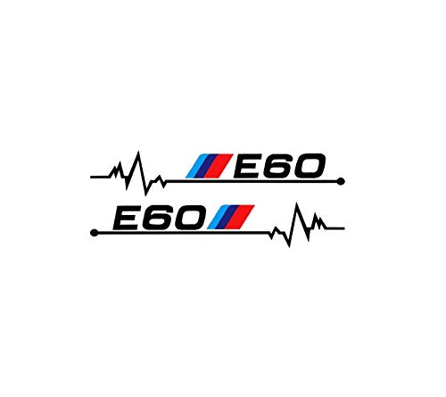 2 Pack Pegatina BM E30 E34 E36 E39 E46 E60 E87 E90 Coche Retrovisor Llantas Ventana Vinyl Vinilo Sticker 2Pcs 12cmX2cm (E60 NEGRO)