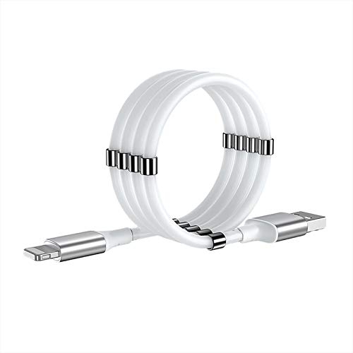 Magnetic Phone Charging Cable, USB Cable, Magnetic Absorption Nano Data Cord, Retractable and Fast Charger Cable, Compatible with All i-Products(White-3FT)