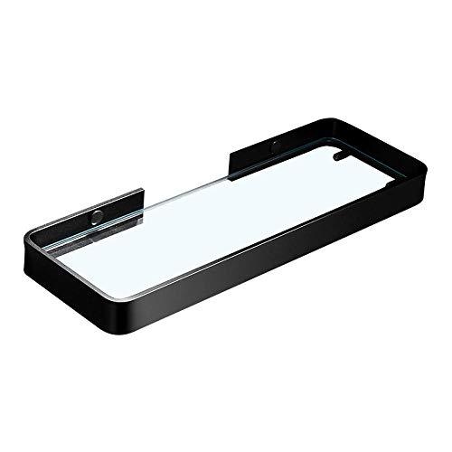 CBXSF Badezimmerregale Raum Aluminiumregale Badezimmerregale Badezimmerglasregale Kosmetikregale Schwarzes Glaskommode Badezimmerzubehör-Schwarz 45Cm