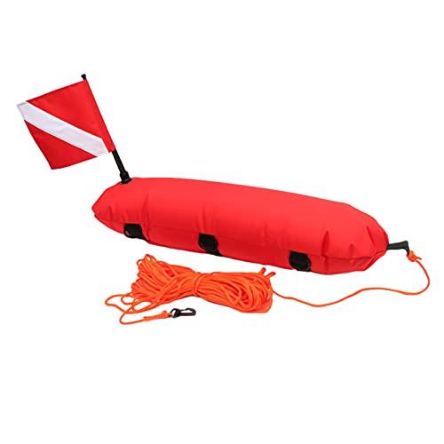 Sharplace Torpedo Boje Float für Scuba Tauchen, Speerfischen, Freies Tauchen, Schnorcheln und Schwimmen-Dive Flagge und Seil für Strand Zubehör, Hohe - Rot