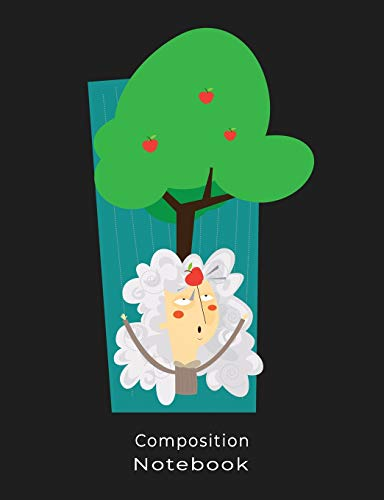 COMPOSITION NOTEBOOK: Funny Isaac Newton Apple Illustration Composition book: (7,44x9,69) 120pages College Ruled Line Paper Soft Cover Glossy Finish