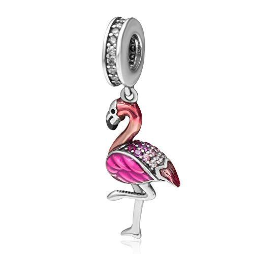 Abalorio de plata de ley 925 con diseño de flamenco, diseño de pájaro, para pulsera Pandora (plata)