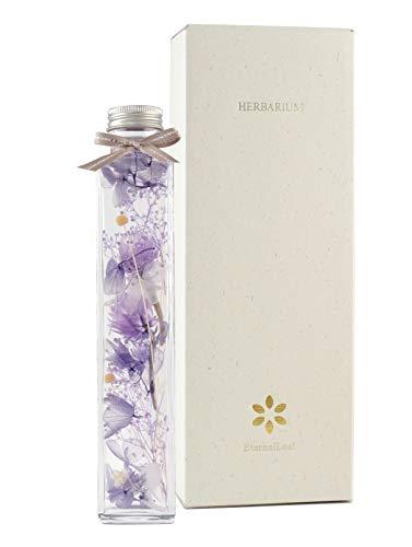 EternalLeaf ハーバリウム フラワー パープル シリコンオイル 角 瓶 ギフトボックス付 花 おしゃれ かわいい ギフト プレゼント