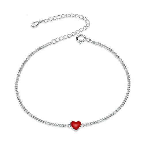 shangwang 925 Sterling Silver Simple Minimalist Red Heart Chain Bracelet Female Enamel Statement Exquisite Jewelry