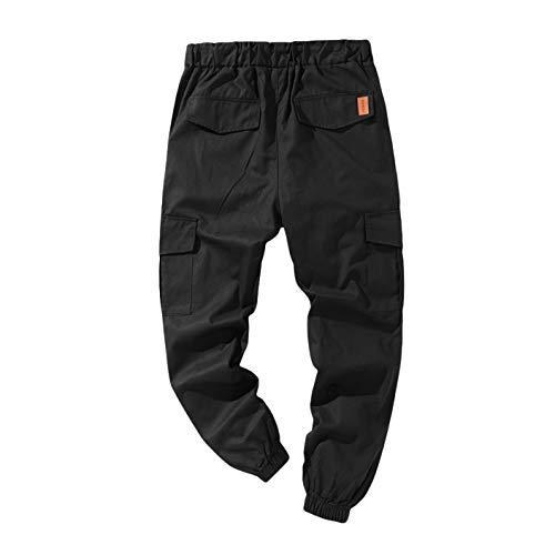 Mode Hommes Pantalon De Travail Joggings Joggings Occasionnels Pantalon Cargo D'EntraîNement Multi Poches Pantalon De Sport AthléTique (Noir, 48-50)