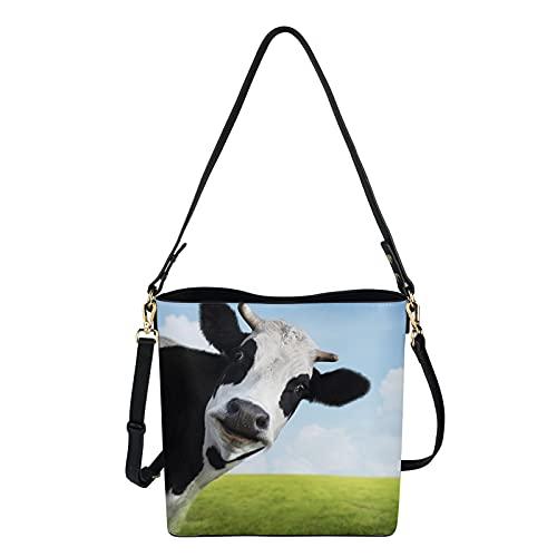 HUGS IDEA Bolso de cuero de la PU para las mujeres, bolso del cubo del cuerpo cruzado, bolso del diseñador del bolso, perro animal vaca cráneo Santa, Grassland Vaca, Medium