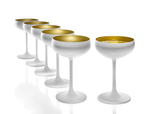 Stölzle Lausitz Sektschalen Weiß (matt) Gold 6er Set I Cocktailschalen aus hochwertigem Kristallglas 200ml I Champagnergläser-Set spülmaschinenfest I Coupe Gläser I hohe Bruchresistenz