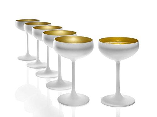 Stölzle Lausitz Sektschalen 230 ml, 6er Set, Sektgläser in weiß (matt) und Gold, spülmaschinenfest, bleifreies Kristallglas, hochwertige Qualität
