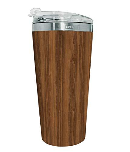 NERTHUS FIH 633 Taza Doble Pared 500ml, Termo, Seguro para Alimentos, Apto para lavavajillas, Vasos de Café Viaje sin BPA, Acero Inoxidable, Madera, 9.5 X 19(Alt) Cm