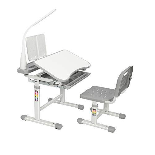WXBOBO Kids Functional Desk and Chair Set, Height Adjustable Children School Study Desk with Tilt Desktop, Bookstand, LED Light, Metal Hook and...