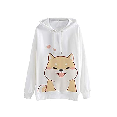 Meikosks Women's Casual Long Sleeve Sweatshirt Cute Graphic Print Hoodies Jumper Pullover Tops White