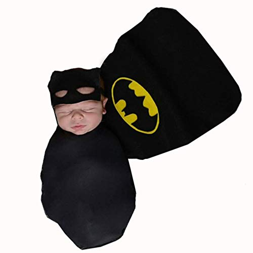 Himom Fotografia Costumi Neonato Neonata Ragazzino Ragazzina,Batman 3 PCS Fasciare Maschera Mantello Coperta Indossabile Photography Props Outfits Swaddle