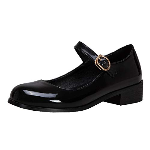 PIXIEFOOT Tacco Grosso Mary Jane Donna Scarpe Basse Decolte con Cinturino alla Caviglia Fibbia (37 EU, Nero)