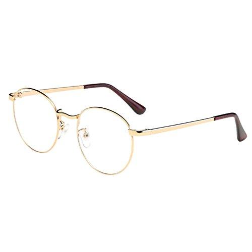 Zhuhaixmy Zhuhaixmy Unisex Klassisch Metall Runden Felge Komfortabel Brille Kurzsichtig Kurzsichtigkeit Brillen Harz Löschen Linsen (Stärke -0.5, Gold) (Diese sind nicht Lesen Brille)