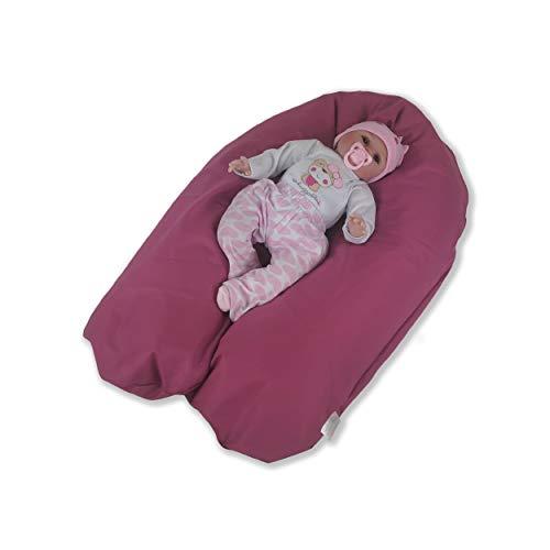 CorpoMED Stillkissen Maxi 194x35cm inkl. Bezug (Berry) , handgenäht aus Deutschland, waschbarer Bezug aus 100% Baumwolle, verwendbar als Schwangerschafts-Kissen und Lagerungskissen