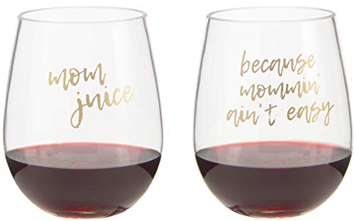2 PACK - Mom Juice, Because Mommin Ain't Easy - Mother's Day Gifts - Unique Baby Shower Gift for Mom to be - Cute Funny Wine Glass - Unbreakable Plastic Wine Glass - Toddler Proof New Mom Gift