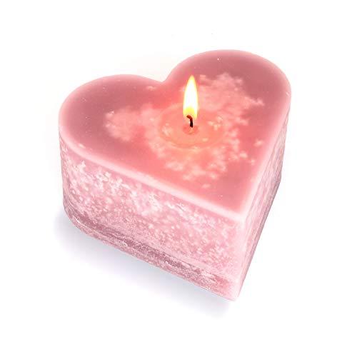 Mamatura Edle Herzkerze | Kerze in Herzform | Dekokerze Love | Liebe Valentienstag Hochzeit Geschenk (Rosa)