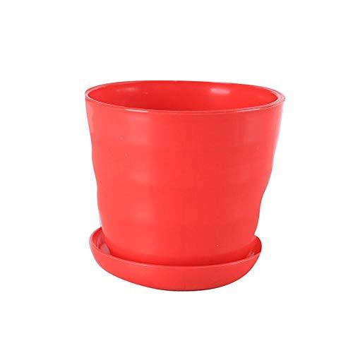 Fablcrew Colorati vasi in plastica per Fiori, per Interni, Ufficio e casa con vassoi,2 PCS