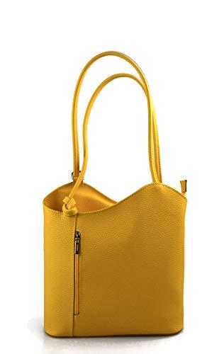 Borsa pelle donna zaino con manici a spalla giallo