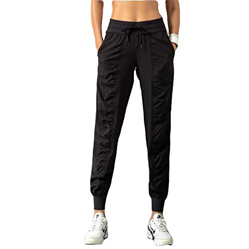 FITTIN Damen Sporthose Jogginghose Traininghose- Lang Sweatpants Laufhose für Jogging, Fußball, Fittness Training, Freizeit Schwarz L