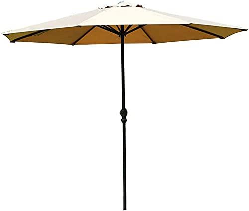 SAFGH Sombrilla de jardín al Aire Libre |2,7 m | con manivela/Redondo/Protección UV/Anti-Lluvia Ligera, Parasol Compacto (sin Base)