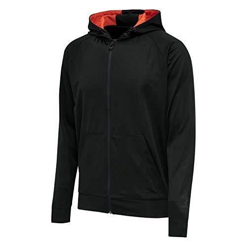 Hummel Dziecięca bluza z kapturem Hmlaction Zip Hoodie Black/Fiesta 152