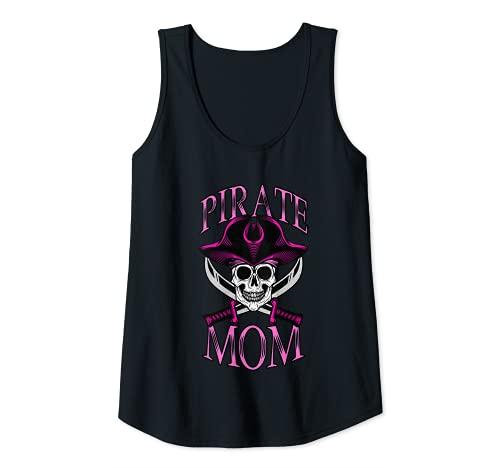 Mujer Disfraz pirata mamá Halloween calavera mate mamás piratas Camiseta sin Mangas