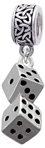 Delight Jewelry Silvertone Pair of Dice - Celtic Knot Charm Bead