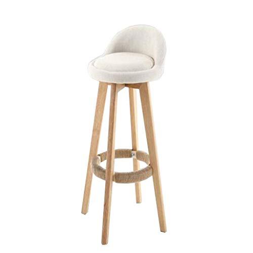 O&YQ Lässiger Sitzstuhl Bar Chair Solid Oak Drehbarer Barstuhl Sackleinen Hochstuhl Holzstuhl