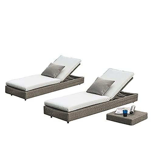 Lettini da terrazza Reclinabile per la Poltrona all'aperto, reclinabile in Rattan con Schienale Regolabile, Cuscino in Cotone ad Alta densità, Piscina Garden Lounge Chair