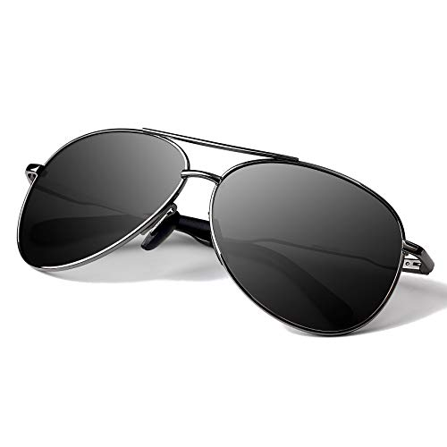 偏光飞行员太阳镜男性 - 沟底金属架驱动紫外线防护400男士女士镜太阳镜8002(黑/枪)